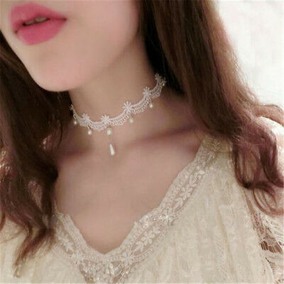 Women Lady Gothic White Flower Lace Charm Pearl Pendant Choker Necklace Jewelry