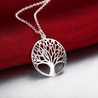 925 Silver Deluxe Tree Of Life Sacred Oak Charm Pendant Necklace in Gift Bag/Box