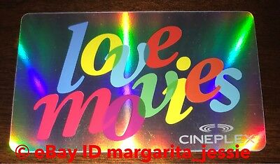 "Cineplex Theaters Gift Card ""Love Movies"" Collectible No Value New Canada"