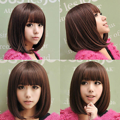 Fashion Short Straight Bob Hair Full Wigs Women Lady Cosplay Party Wig Pro