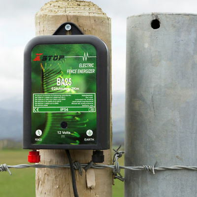 BA25 BATTERY POWERED ELECTRIC FENCE ENERGISER 2km HORSE PADDOCK 12v 0.2J CE RoHS