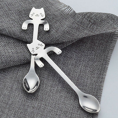HH- 1Pc 304 Stainless Steel Cat Coffee Tea Hanging Cup Spoon Kitchen Gadget Nove