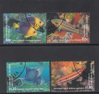 CHRISTMAS ISLAND 2013 FISH Marine Life design set of 4  VFU,CTO..CI PM.F/V $3.60
