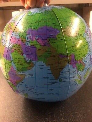 Inflatable Globe 30cm Atlas World Map Earth Educational Learning