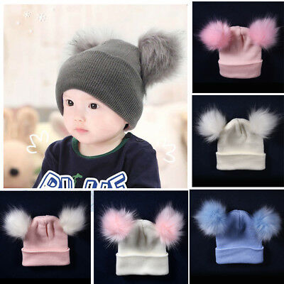 Newborn Baby Boys Girls Beanie Hat Cap Winter Warm Double Fur Pom Bobble Knit UK