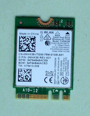 Dell Inspiron15 7559 WiFi AC3165 Model 3165NGW 802.11ac  0MHK36  BT4.0