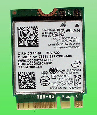 Intel Dual Band Wireless- AC7260 Model 7260NGW  867Mbps Bluetoth4.0 NGFF  0GPFNK