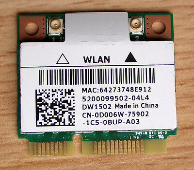 Dell  Wireless DW1502 Wlan Atheros Model:AR5B95 WiFi 802.11b/g/n
