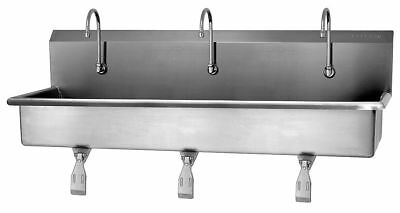 Sani-Lav Stainless Steel Wash Station, With Faucet, Wall Mounting Type, Silver -