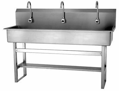 Sani-Lav Stainless Steel Wash Station, With Faucet, Floor Mounting Type, Silver