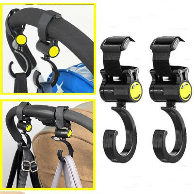 HH- 2x Baby Buggy Clips Strap Car Seat Back Carriage Stroller Hanging Hooks Sple