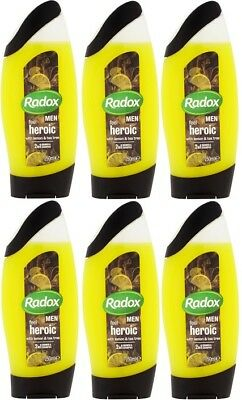 6 x 250ml Radox 2in1 Feel Heroic Men's Shampoo + Shower Gel - Lemon & Tea Tree