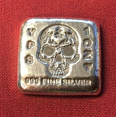 "1 oz Hand Poured 999 Silver Bullion ""Skull Bar"" by YPS - Yeager's Poured Silver"