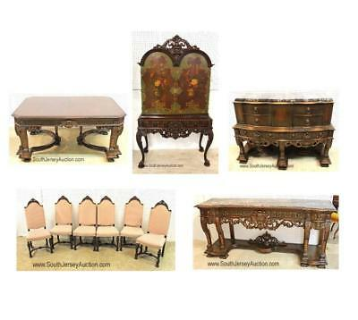10 Piece Highly Carved and Ornate Walnut Depression Dining Room Set Lot 100