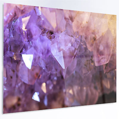 Design Art 'Purple White Natural Amethyst Geode' Graphic Art Print on Metal