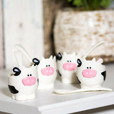 Novelty BPA Free Plastic Cow Egg Cup with Spoon Farm Animal Holder Serving Dish