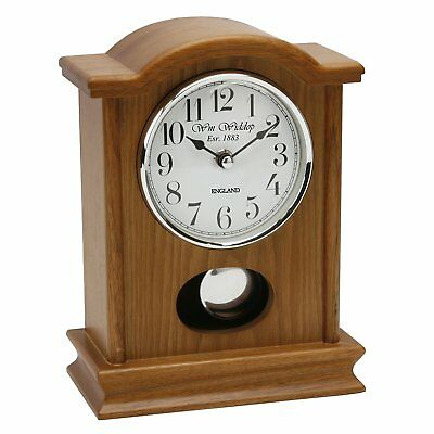 Napoleon Oak Wood and Glass Pendulum Mantel Clock with Arabic Dial