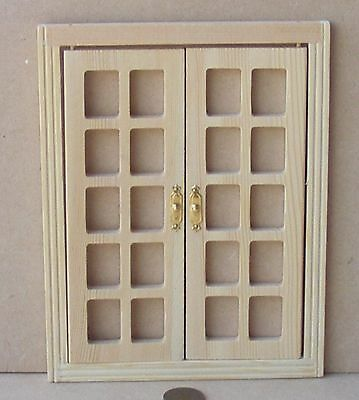 1:12 Scale Basic Classic Wooden French Doors Dolls House Fairy Accessory 500