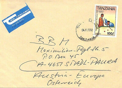 CA7 1992 Dar-es-Salaam Commercial *AIR TANZANIA* ETIQUETTE Cover OLYMPIC SNOOKER
