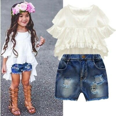 2PCS Kids Clothes Girls Set Fairy Style Flounced Sleeves Casual Coat Jean