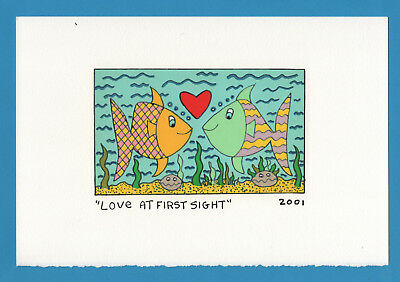 Farblithographie James Rizzi 2001 2D: Love at first sight, kein 3D