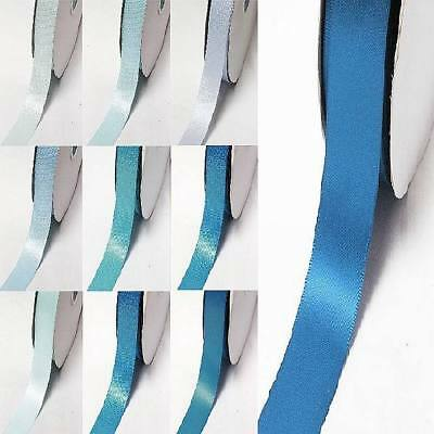 """by 5 Meters single faced satin ribbon 7/8"""" /22mm.lot blue s #352 to #374"""