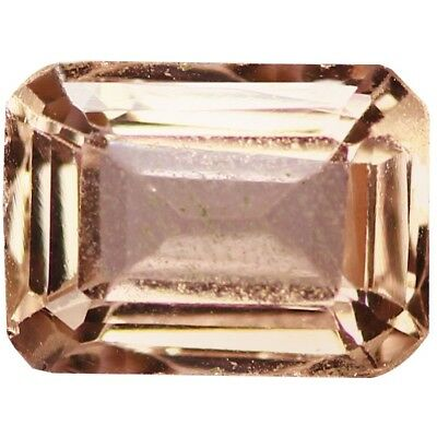 NATURAL VERY PRETTY PEACHY PINK MORGANITE GEMSTONES (7 x 5.1 mm) EMERALD CUT
