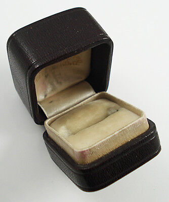 Quality Antique Burgundy Leather Ring Box.