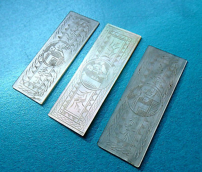 3  Anique Pearl Sewing Thread Winders,engraved  Figure Scene Fronts