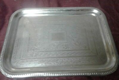 Etched silver plated square serving tray