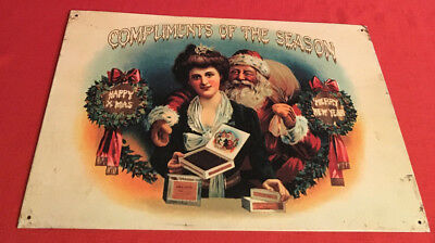 """Cigar Sign """"complements Of The Season"""" Reproduction 1994 Despeerate Sign Co.1994"""