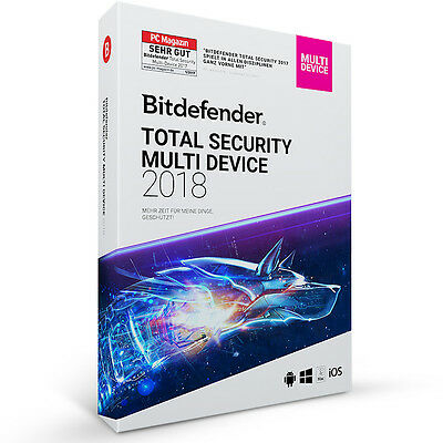 Bitdefender Total Security 2018 Multi-Device 1 Gerät (PC) / 1 Jahr - inkl. VPN