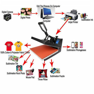 "16""x20"" Digital Heat Press Machine Transfer Sublimation Clamshell T-Shirt US hxp"