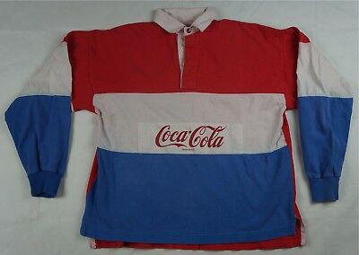 Rare Vintage COCA COLA BRAND Spell Out Rugby Polo Shirt 90s Red White Blue USA L