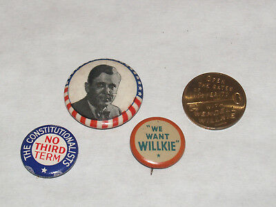Vintage Group Lot Willkie Anti Fdr Pinback Button Pin Campaign Political 1940