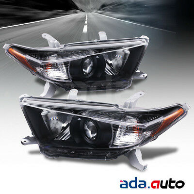 For 2011-2013 Toyota Highlander [Factory Style] Black Headlights Lamps Set