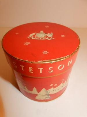 VINTAGE MEN'S STETSON TINY HAT RED HATBOX BOX 1950s DOLL SIZE