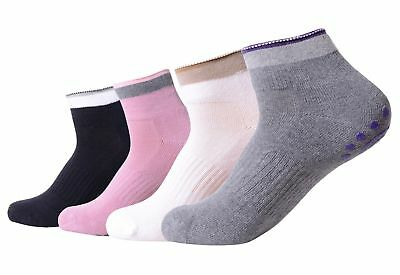 4 Pairs Non Slip Skid Yoga Pilates Socks with Grips Cotton for Women