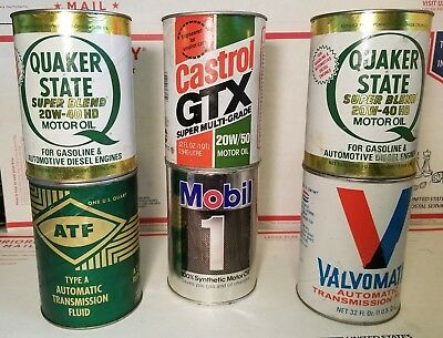 LOT OF 6 VINTAGE OIL CANS Quaker State Mobil 1 Castrol GTX Double Eagle Valvo