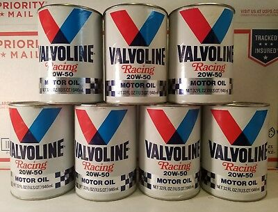 Lot of 7 Qts Vintage Valvoline High Perfomance Racing Motor Oil Cans SAE 20W-50