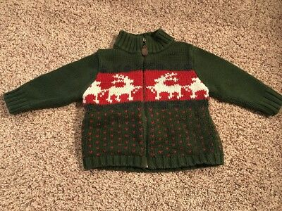 CUTE Baby Gap Zip-Up Holiday Sweater, Toddler Boys Size 18-24 Months, EUC