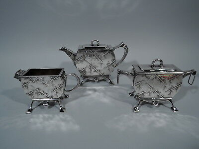 Tiffany Tea Set - 3024 - Japonesque Aesthetic - American Sterling Silver