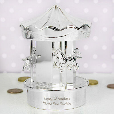Personalised Engraved Silver Carousel Money Box - Christening, Baptism Gift
