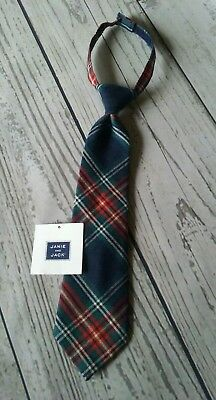 Janie & Jack Boy's  Neck Tie Red Navy Blue green plaid Holiday  Size Up to 3