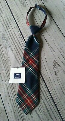 Janie & Jack Boy's  Neck Tie Red Navy Blue green plaid Holiday  Size Up to 3 /