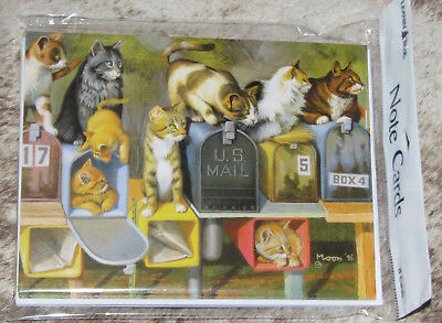 LEANIN TREE Cats at and in the Mail Boxes #35220~8 Notecards~Bryan Moon Artist