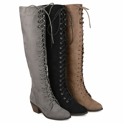46ecfd58a57 Brinley Co Womens Standard and Wide Calf Over the knee Lace up Brogue Boots  New