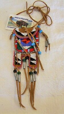 Hand Made Small  Beaded Neck Pouch Rendezvous Black Powder Mountain Man 56