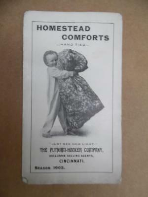 1903 Putnam Hooker Co. Homestead Comforts Blank Comforter Quilt Brochure Antique