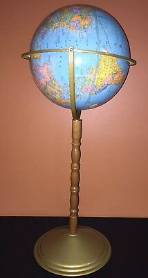 "USA 32"" Tall 11 1/2"" Dia. GEORGE CRAM IMPERIAL WORLD GLOBE FLOOR Stand"